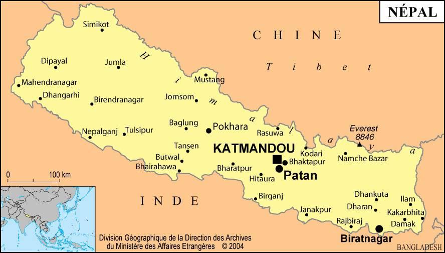 Carte des villes du Népal