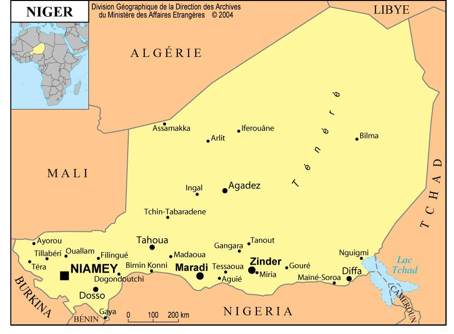 Carte des villes du Niger