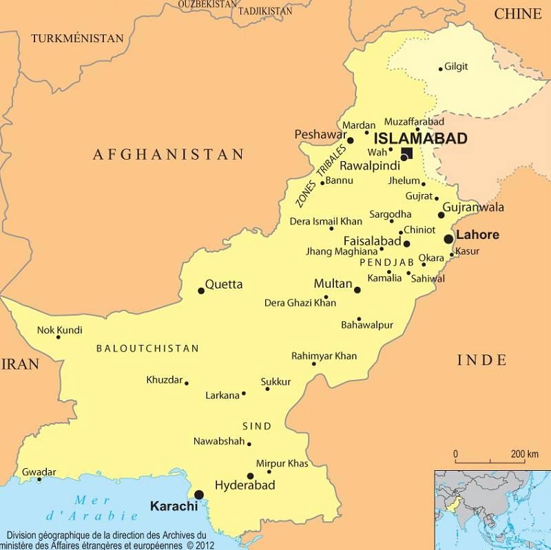 Carte des villes du Pakistan