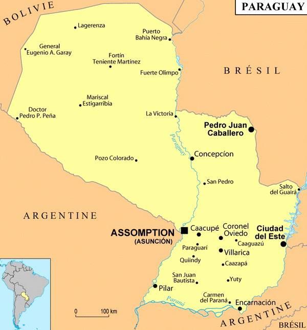 Carte des villes du Paraguay
