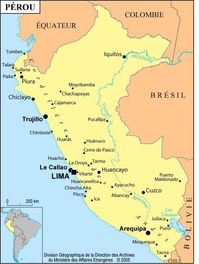 Carte des villes du Pérou