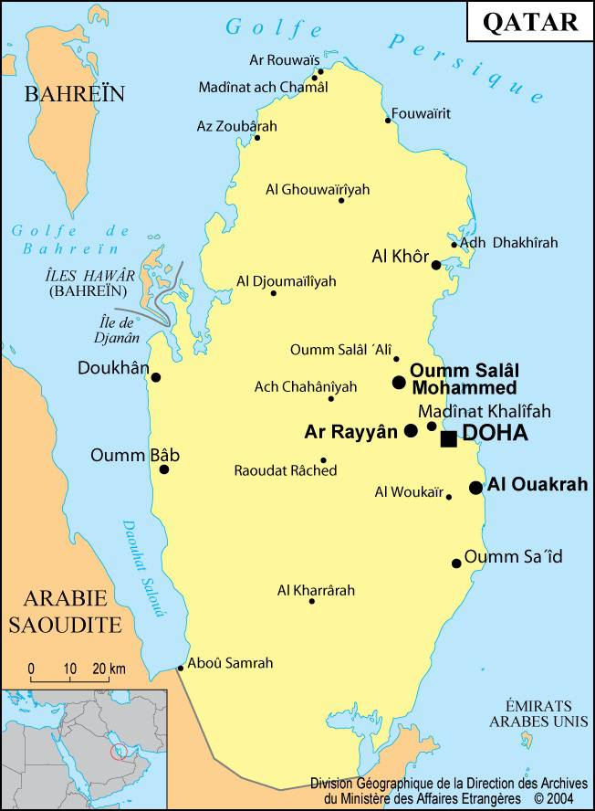 Carte des villes du Qatar