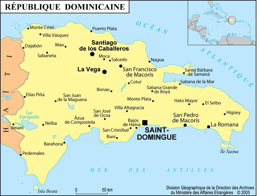 Carte des villes de la République dominicaine