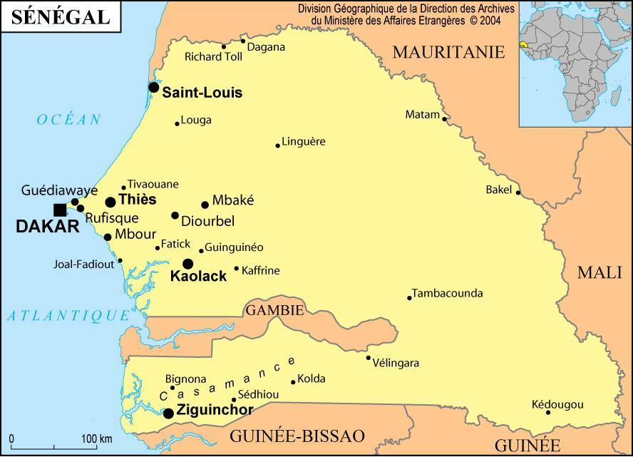 Carte des villes du Sénégal