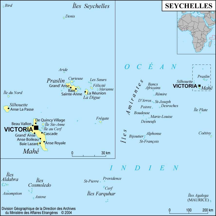 Carte des villes des Seychelles