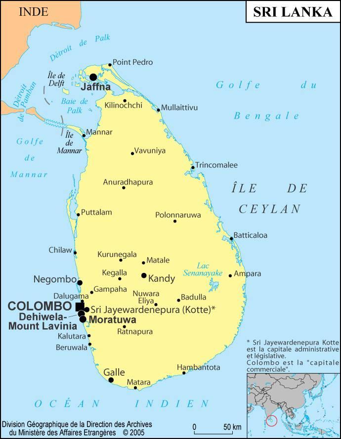 Carte des villes du Sri Lanka