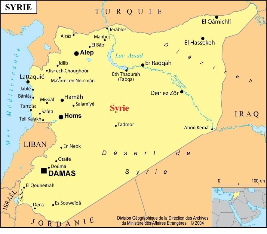 Caret des villes de la Syrie