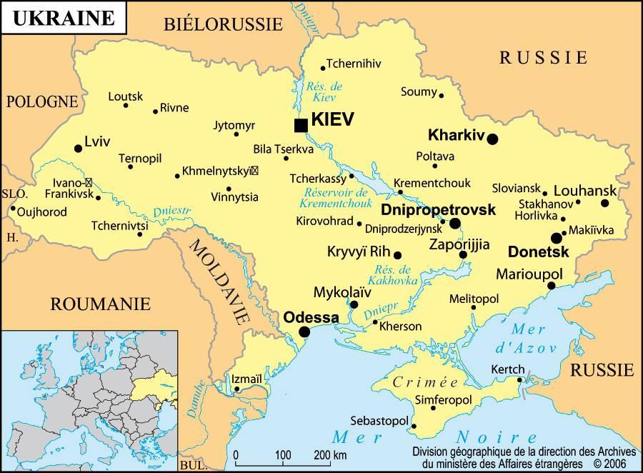 Carte des villes de l'Ukraine