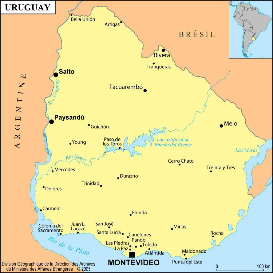 Carte des villes de l'Uruguay