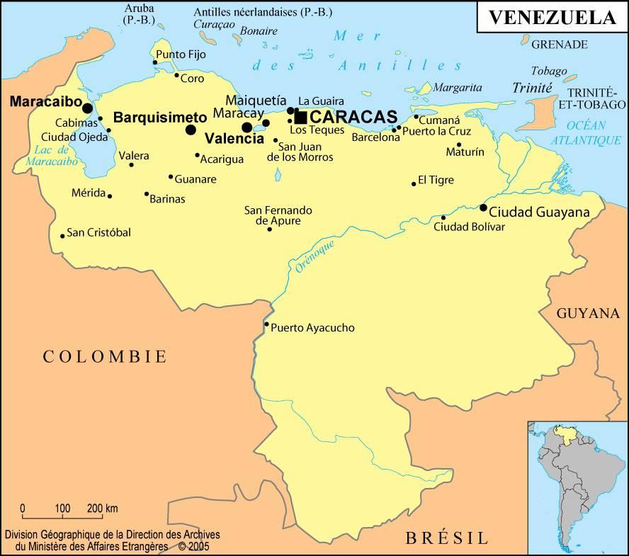 Carte des villes du Venezuela