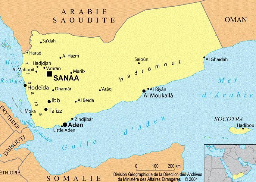 Carte des villes du Yémen