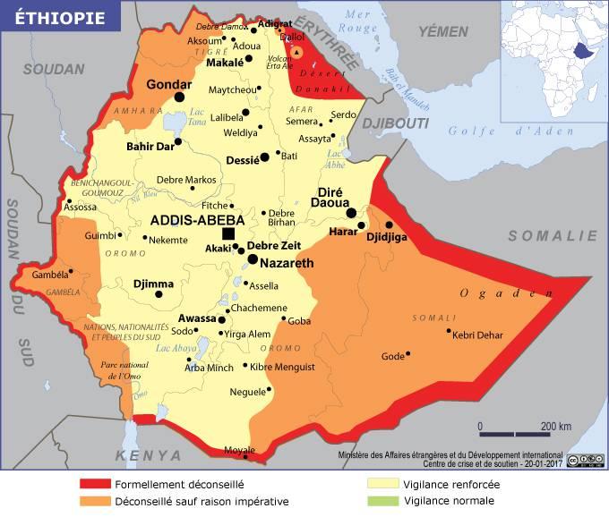 Carte des zones dangereuses de l'Ethiopie