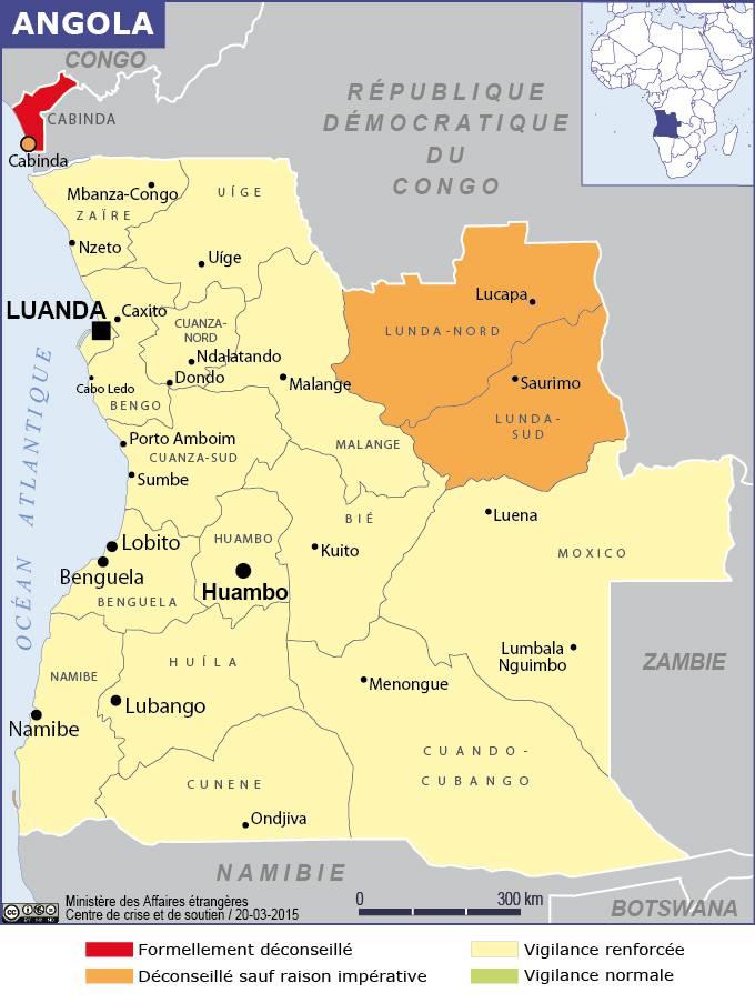 Carte des zones dangereuses de l'Angola
