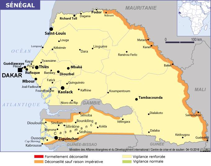 Carte des zones dangereuses du Sénégal