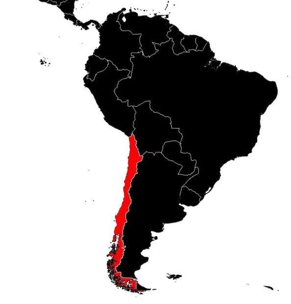 Chili sur une carte d'Amérique du Sud