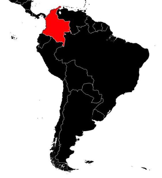 Colombie sur une carte d'Amérique du Sud