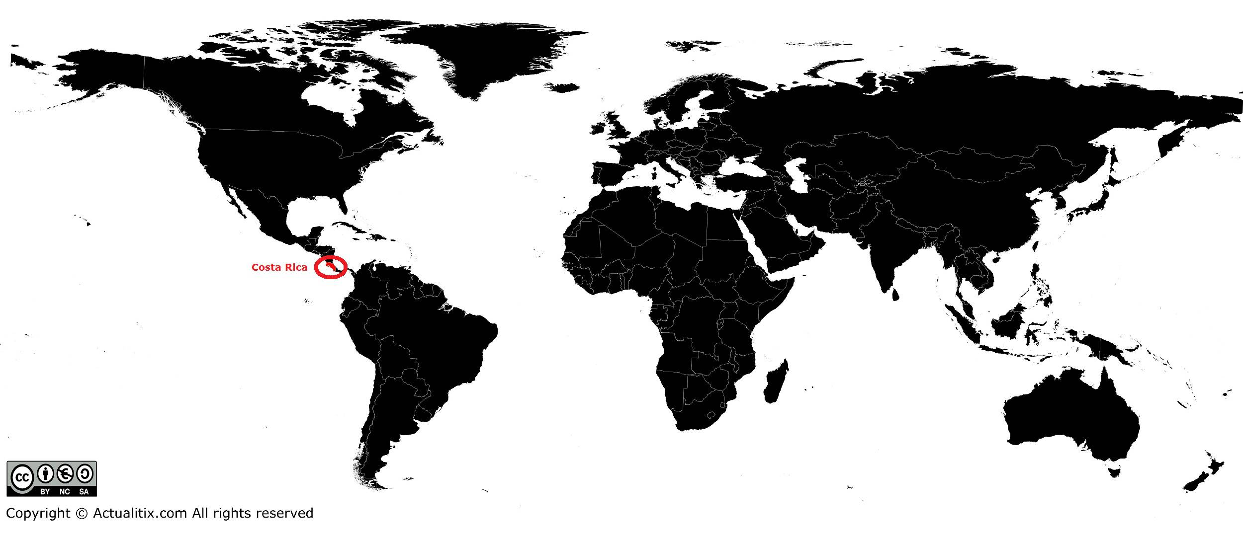 Costa Rica sur une carte du monde