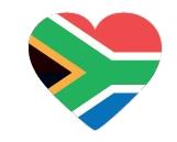 Drapeau de l'Afrique du Sud en coeur