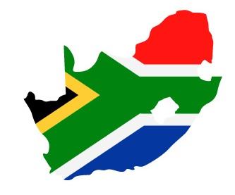 Drapeau de l'Afrique du Sud en forme de pays