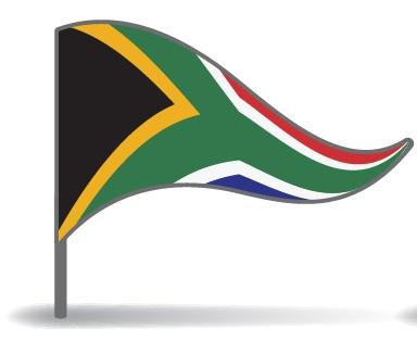 Drapeau triangulaire de l'Afrique du Sud