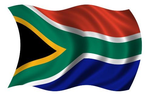 Drapeau Afrique du Sud dans le vent