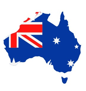 Drapeau de l'Australie avec forme du pays