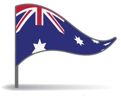 Drapeau de l'Australie avec pied