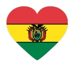 Drapeau de la Bolivie en forme de coeur