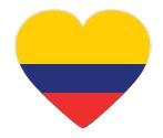 Drapeau de la Colombie en forme de coeur
