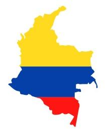 Drapeau de la Colombie en forme de pays
