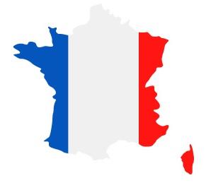 Drapeau de la France en forme de pays