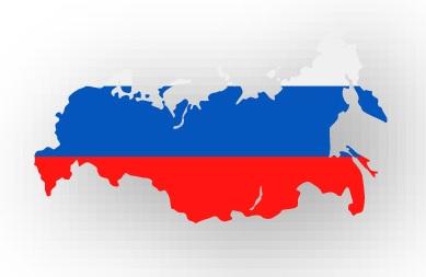 Drapeau de la Russie avec la forme du pays