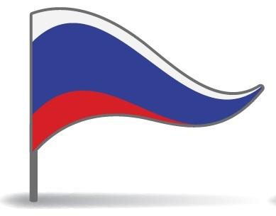 Drapeau de la Russie avec un pied