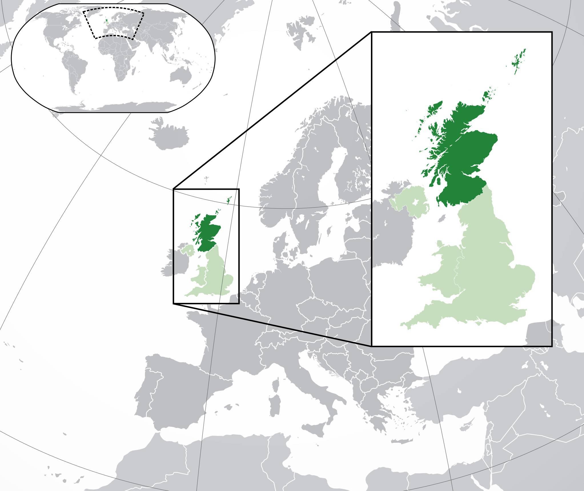Ecosse sur un carte de l'Europe
