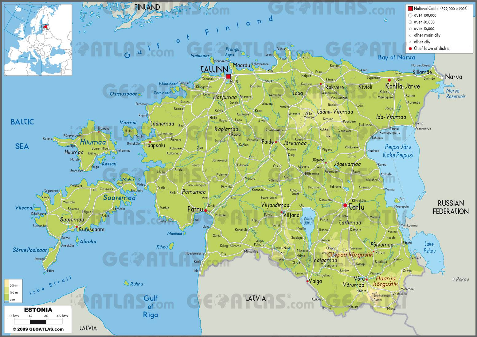 Carte de l'Estonie carte