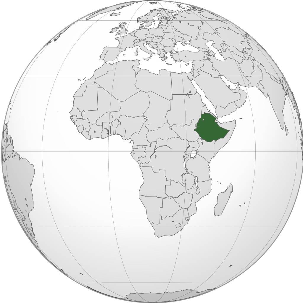 Ethiopie sur une carte de l'Afrique