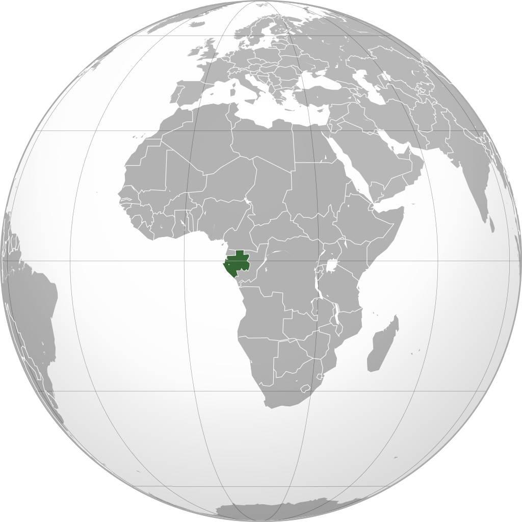 Gabon sur une carte de l'Afrique