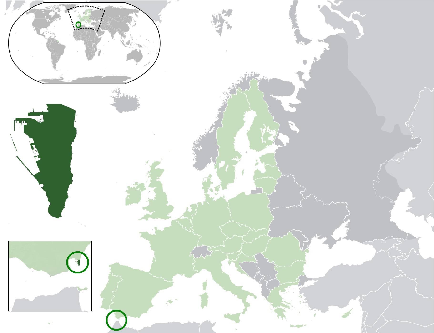 Gibraltar sur une carte de l'Europe