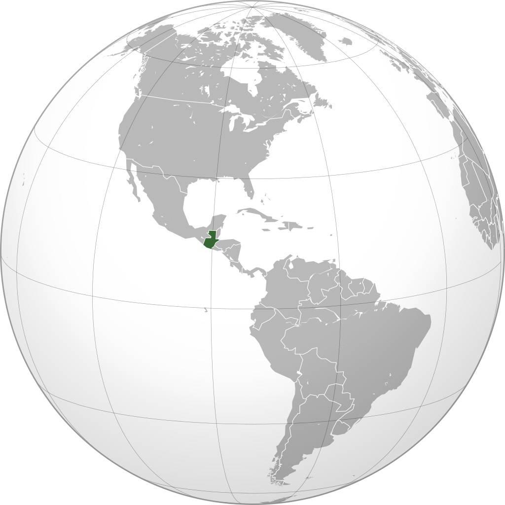 Guatemala sur une carte de l'Amérique