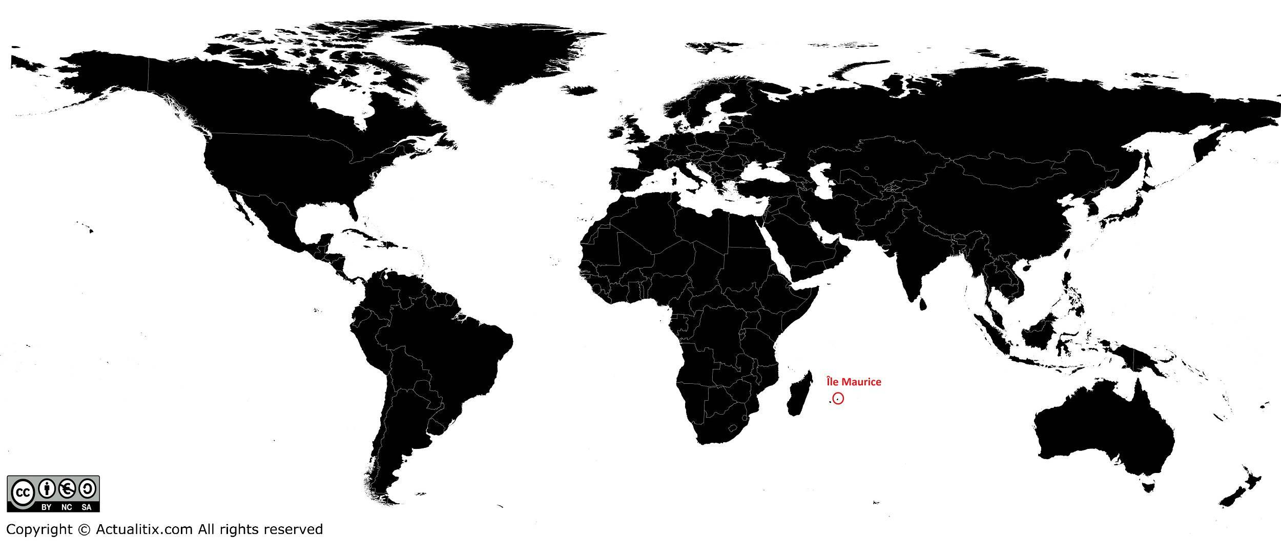 Île Maurice sur une carte du monde