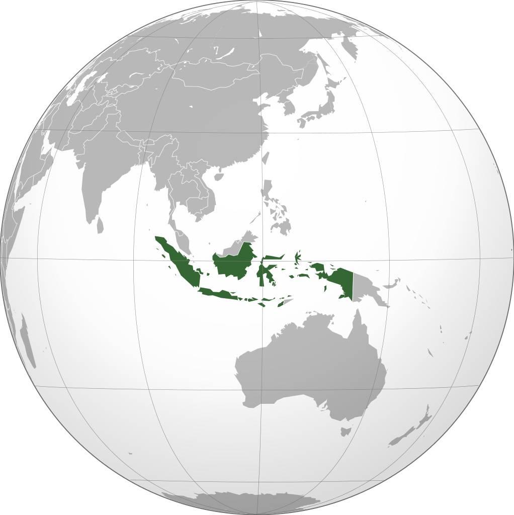 Indonésie sur une carte de l'Asie