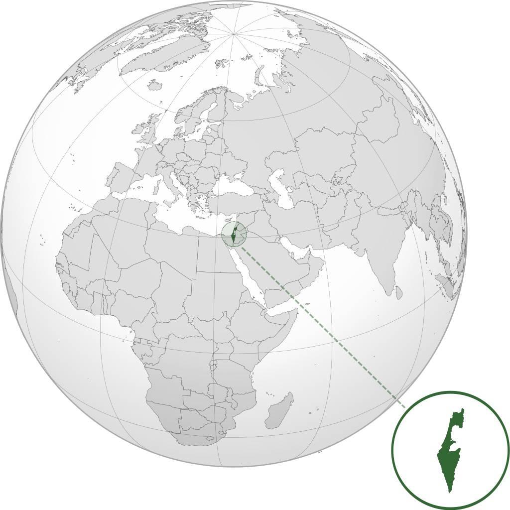 Israël sur une carte du Moyen-Orient