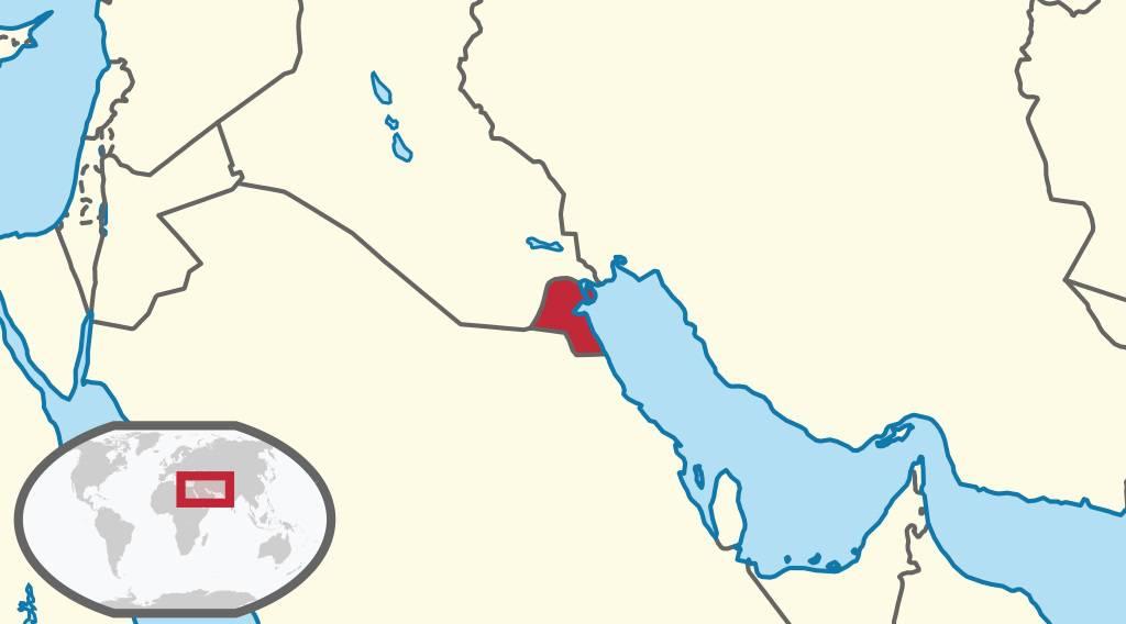 Koweït sur la carte du Moyen-Orient