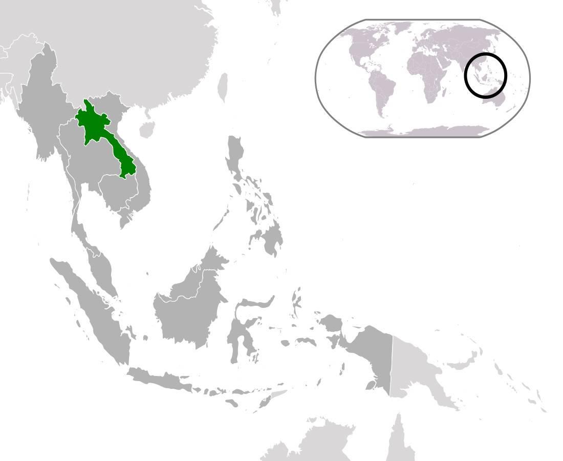 Laos sur une carte de l'Asie