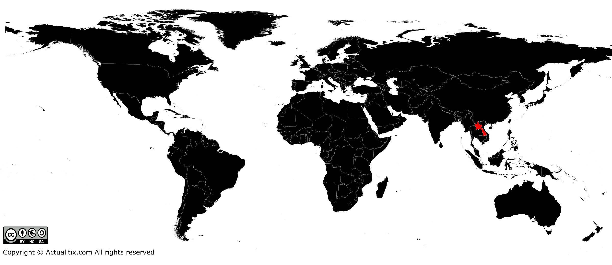 Laos sur une carte du monde