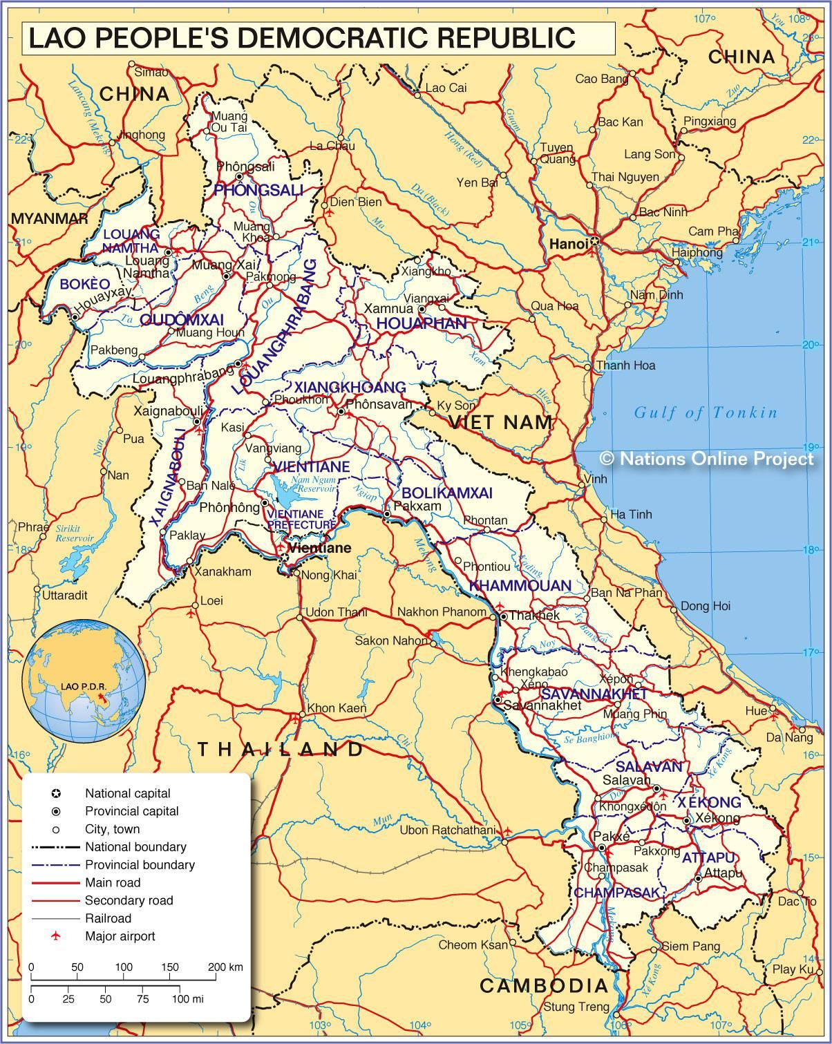 Carte du Laos