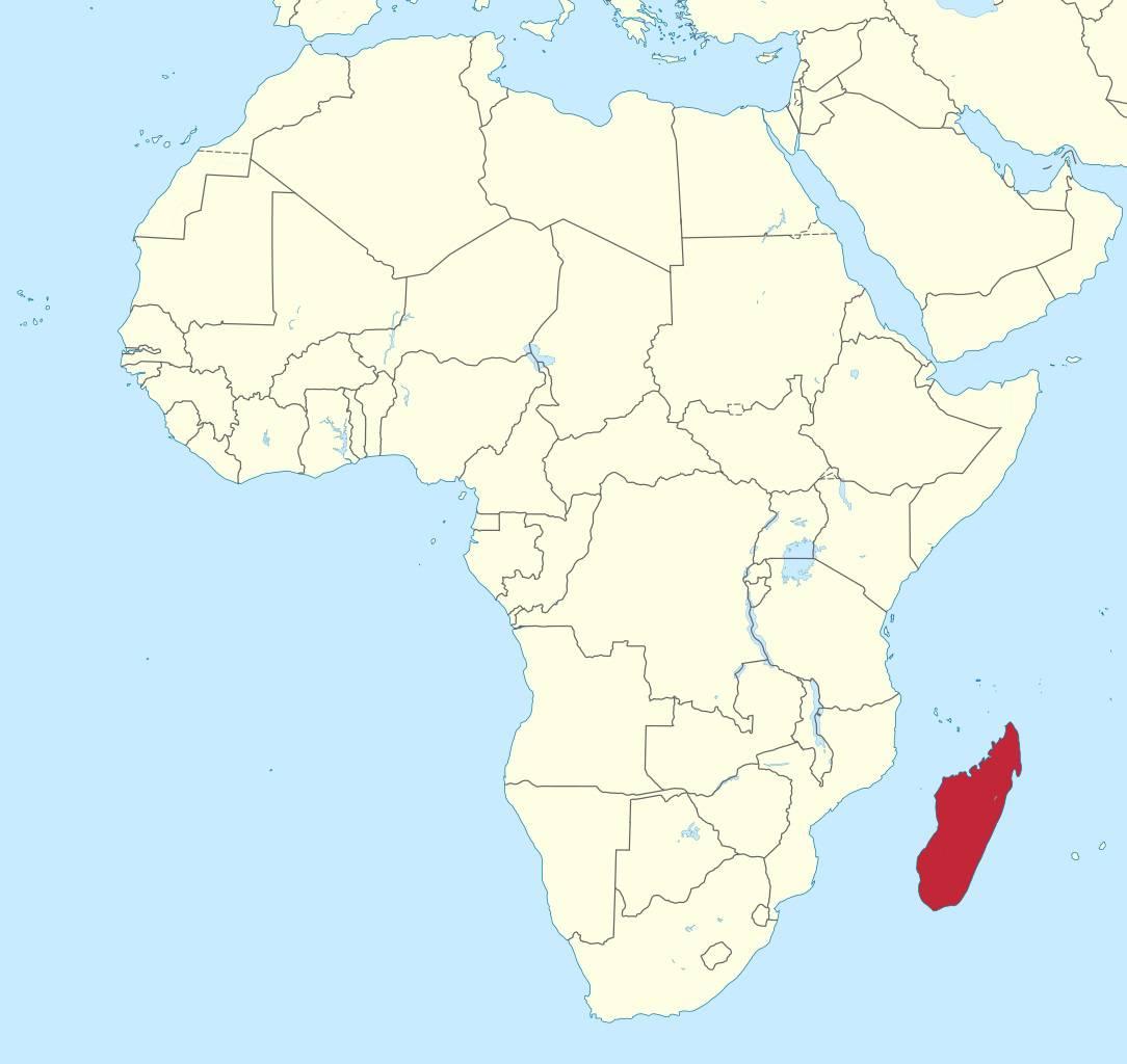 Madagascar sur une carte de l'Afrique