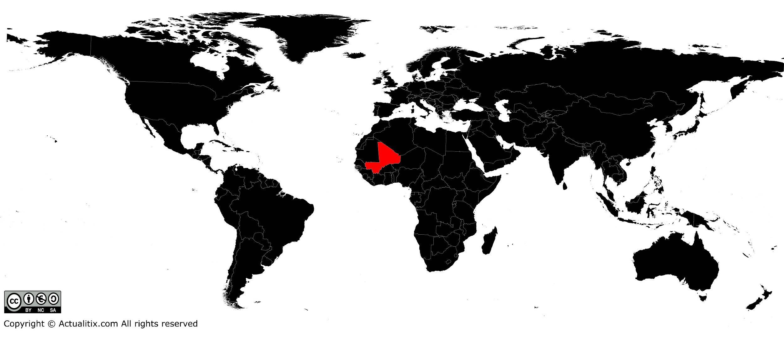 Mali sur une carte du monde