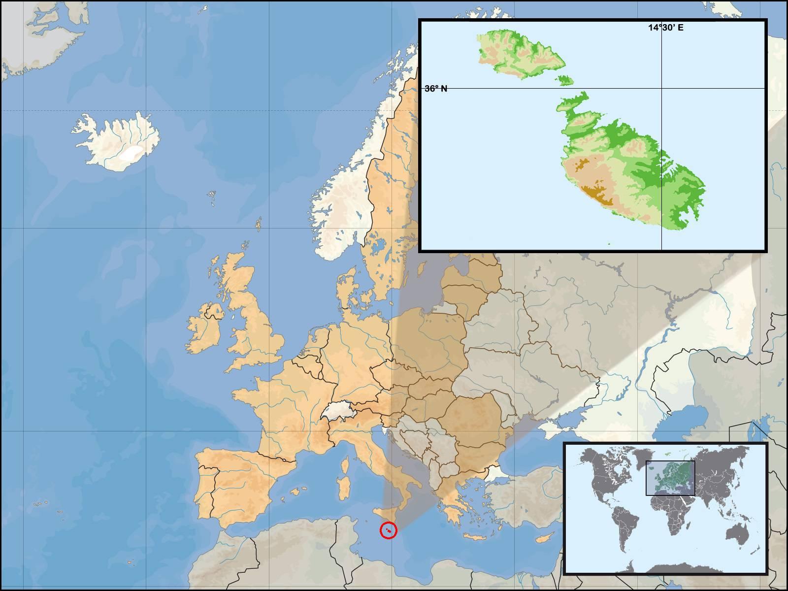 Malte sur une carte d'Europe