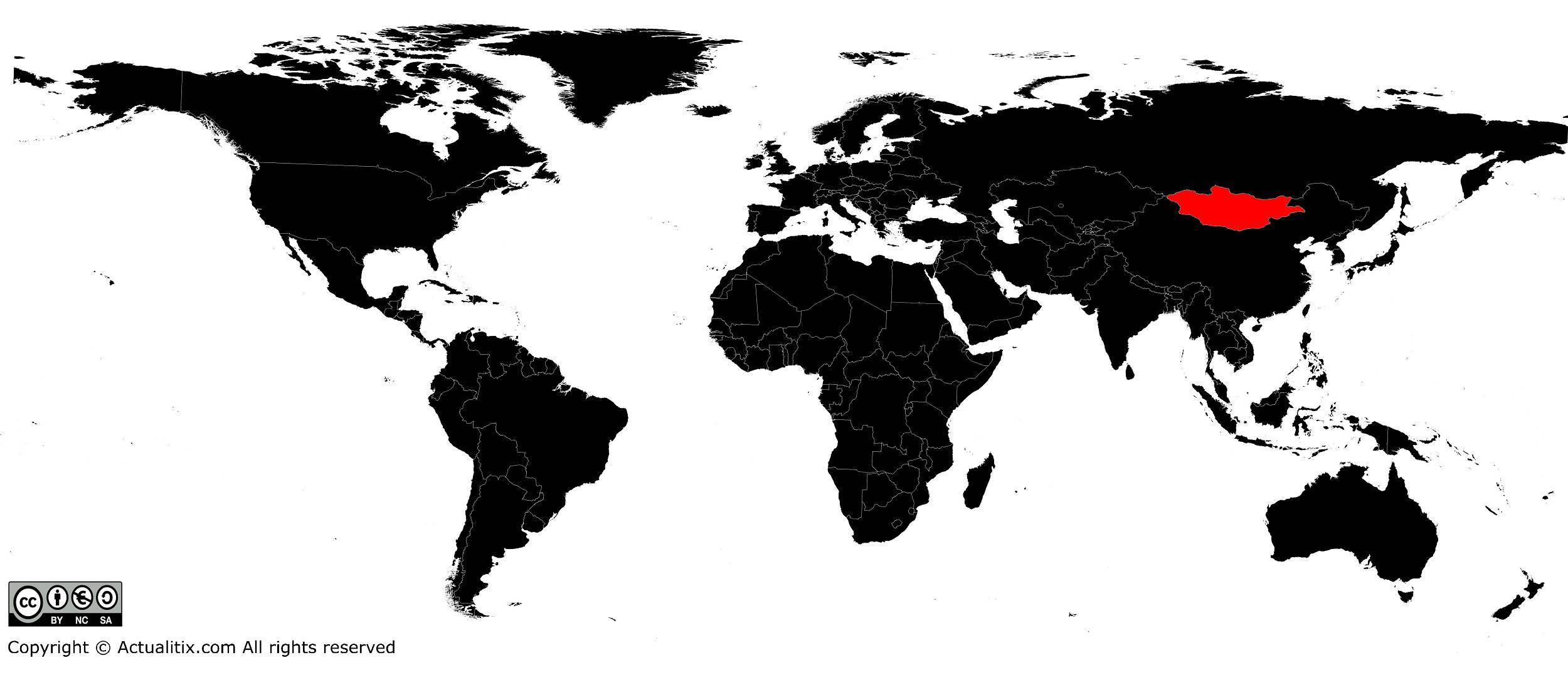 Mongolie sur une carte du monde